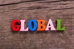 Global word made of wooden letters Stock Photography