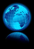 Global World on black background with reflection Royalty Free Stock Image