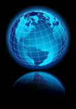 Global World on black background with reflection Royalty Free Stock Photos