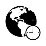 Global world clock business concept pictogram Royalty Free Stock Images
