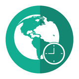 Global world clock business concept shadow Stock Photography