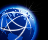 Global World with Communications around the Globe Stock Photo
