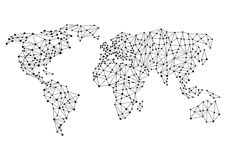 Global or world connections. Abstract illustrated map of the world with global connections, business and social media concept Stock Photography