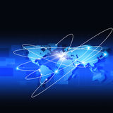 Global World Connections Blue Background Stock Photography