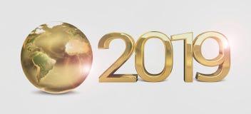 2019 global world golden 3d render.  Stock Image
