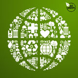 Global World in green icon set Royalty Free Stock Photos