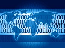 Global world information. Global binary code world information Royalty Free Stock Image