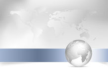 Global world map background. Global business template with world map and 3d globe Royalty Free Stock Photography