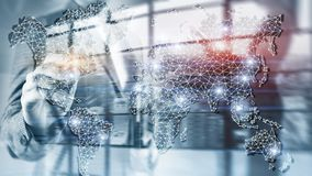 Global World Map Double Exposure Network. Telecommunication, International business Internet and technology concept. royalty free stock photography