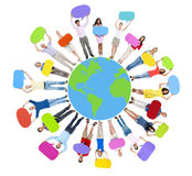 Global World Map People Circle Happiness Togetherness Cheerful C Royalty Free Stock Images