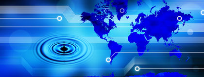 Global World Map Technology Water Banner. A world map on a computer circuit board background and a water drop and ripples Stock Photo