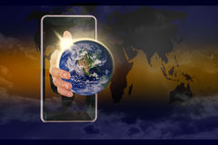 Global world in my hand. Elements of this image furnished by NAS Stock Images