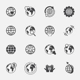 Global and world sign icons set.jinkzcircleline Royalty Free Stock Photography