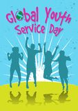 Global Youth Service Day celebration. An illustration of group of young people jumping, celebrating global youth service day Royalty Free Stock Image