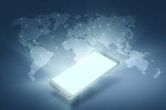 globala anslutningar Smartphone med en Holographic Dis Royaltyfria Foton