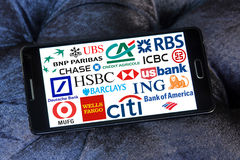 Globala banksymboler och logoer Royaltyfria Foton