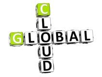 globala för Job Crossword för moln 3D ord kub Arkivbild