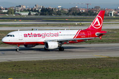 Globala flygbolag för TC--ABLkartbok, flygbuss A320 - 200 Royaltyfri Bild