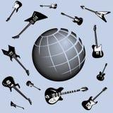 globala gitarrer för bakgrund vektor illustrationer