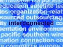globala interconnected översiktsnätverk som visar ord royaltyfria bilder