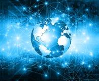 globala internet för bäst affärsidé Jordklotet som glöder fodrar på teknologisk bakgrund Elektronik Wi-Fi, strålar Royaltyfria Bilder