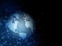 globala internet för bäst affärsidé Jordklotet som glöder fodrar på teknologisk bakgrund Wi-Fi strålar, symboler stock illustrationer