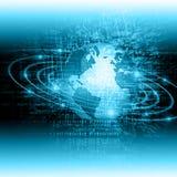 globala internet för bäst affärsidé Jordklotet som glöder fodrar på teknologisk bakgrund Wi-Fi strålar, symboler Royaltyfri Bild