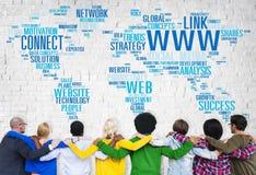 Globala kommunikationer Networkin för social massmediainternetuppkoppling Arkivbilder