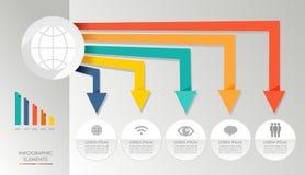 Globala massmediasymboler il för färgrikt infographic diagram Arkivbilder