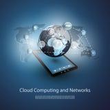 Globala nätverk, molnberäkning - illustration för din affär Royaltyfri Foto