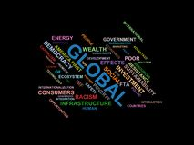 GLOBALA - ordmolnwordcloud - uttryck från den globalisering-, ekonomi- och politikmiljön vektor illustrationer
