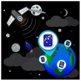 Globala telekommunikationer - illustration Arkivfoto
