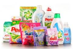 Globala tvagningtvättmedelmärken Royaltyfria Foton