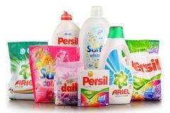Globala tvagningtvättmedelmärken Royaltyfri Fotografi
