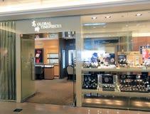 Globala ur shoppar i Hong Kong Arkivfoto