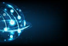 Globala Wifi, affärsteknologi, kommunikationsnätverksanslutning, för bakgrundsvektor för planet glödande framtida abstrakt illust stock illustrationer