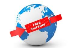 Globale Anlieferung Behälter des kostenlosen Versands mit Erdkugel Lizenzfreies Stockfoto
