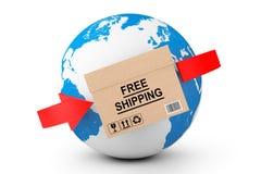 Globale Anlieferung Pappschachtel des kostenlosen Versands mit Erdkugel Lizenzfreie Stockfotos