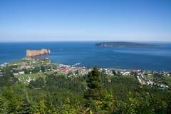 Globale Ansicht von Percé in Gaspesie Stockbild