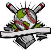 Globale Baseball-Bild-Schablone Lizenzfreie Stockfotos