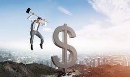 Globale bedrijfs en geldconcepten De dalende munt van de Dollar Stock Foto
