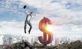 Globale bedrijfs en geldconcepten De dalende munt van de Dollar Royalty-vrije Stock Afbeeldingen