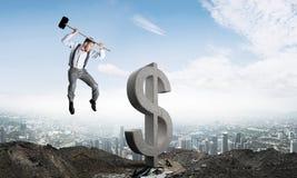 Globale bedrijfs en geldconcepten De dalende munt van de Dollar Stock Afbeelding