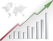 Globale bedrijfsgrafiek en kaart Royalty-vrije Stock Afbeelding