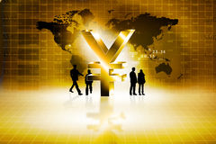 Globale bedrijfsmensen met Yen Sign Stock Foto's