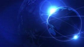 Globale Bedrijfsnetwerkachtergrond Blauwe Aarde Bedrijfssymbool Lijnanimatie royalty-vrije illustratie