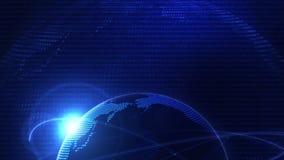 Globale Bedrijfsnetwerkachtergrond Blauwe Aarde Bedrijfssymbool Lijnanimatie vector illustratie