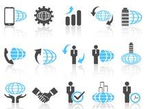 Globale bedrijfspictogrammen blauwe reeks Stock Afbeelding
