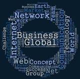 Globale bedrijfswoordwolk Stock Fotografie