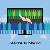 Globale bedrijvenhanddruk voor een overeenkomst Stock Foto's